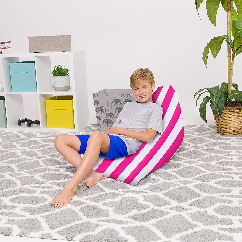 Posh Beanbags Bean Bag Chair, 100L-Medium Twist, Canvas Stripes Pink and White