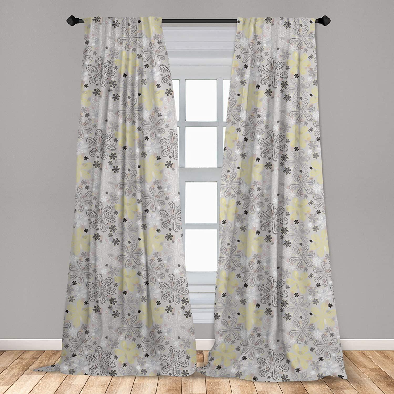 Ambesonne Grey and Yellow 2 Panel Curtain Set, Bohem Style Paisley Print Flowers Dots Art Image, Lightweight Window Treatment Living Room Bedroom Decor, 56