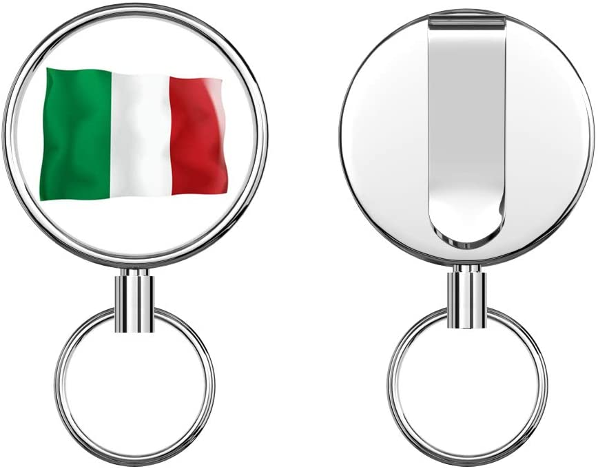 Italy Flag Retractable Badge Holder Reel Metal ID Badge Holder with Belt Clip Key Ring for Name Card Keychain