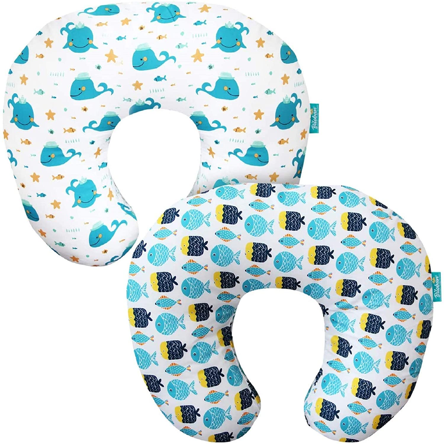 Baby Nursing Pillow Cover 2 Pack, Breathable Machine Washable Pillow Slipcovers for Moms Breastfeeding and Bottle Feeding Pillow, Large Zipper Ultra Soft Infant Support Pillow Cover for Boys Girls