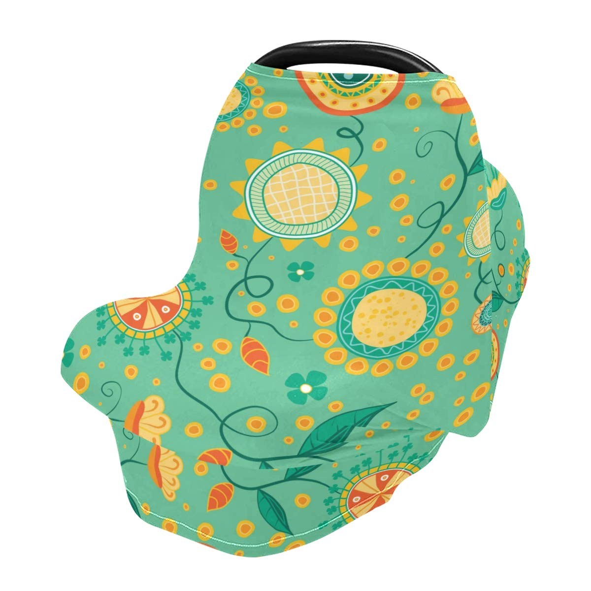 Nursing Cover Breastfeeding Scarf, Gold Folwers Car Seat Covers for Babies Infant Stretchy Soft Breathable Multi-Use Cover Ups, Baby Shower Gift for Boys Girls