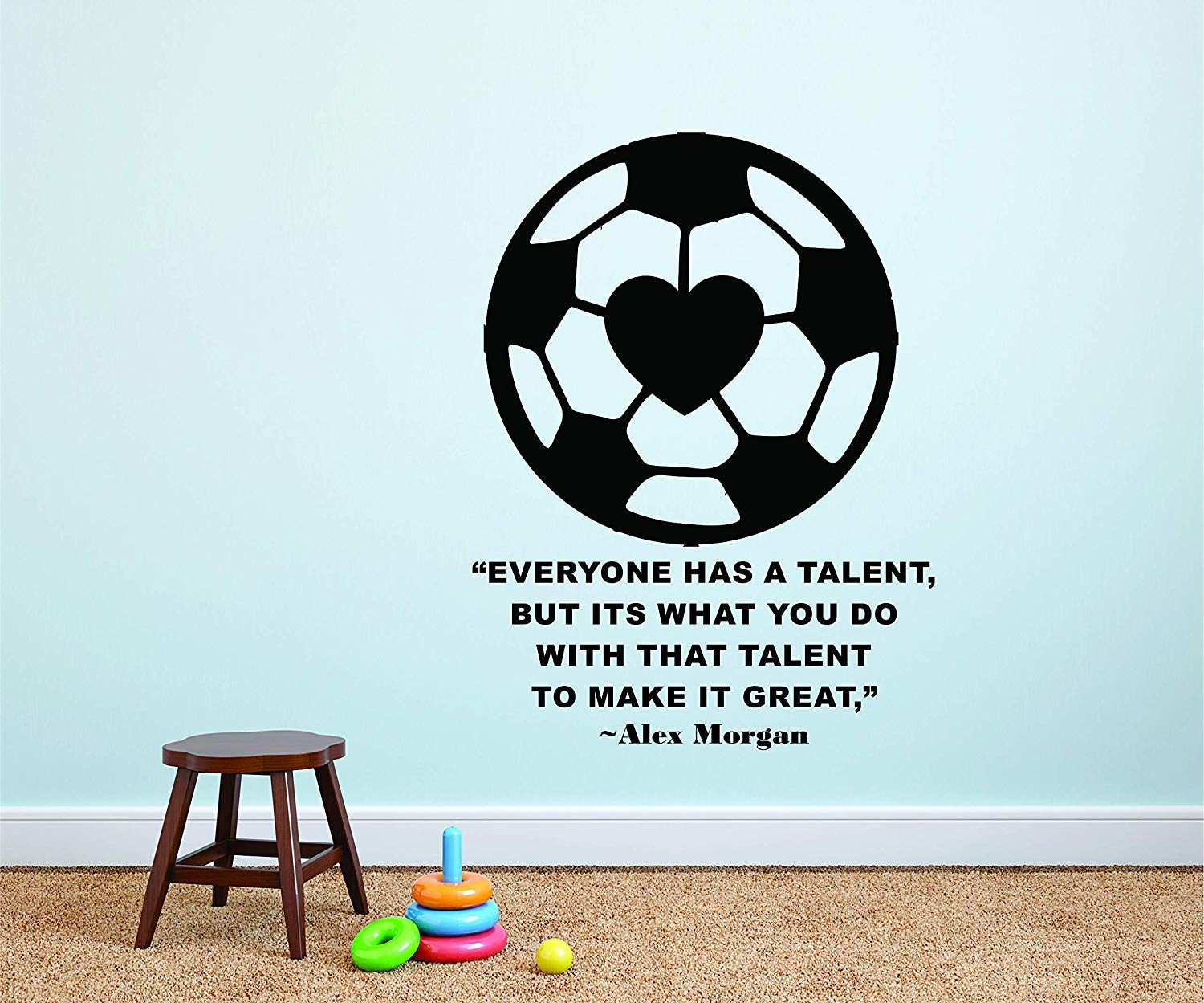 Alex Morgan Wall Decals for Kids Bedrooms Girls Soccer Stickers for Bedroom Sports Designs Vinyl Art Decor for Childrens Walls Cute Rare Heart Ball Girl Alex Morgan Quote Quotes Balls Size 30x30 inch