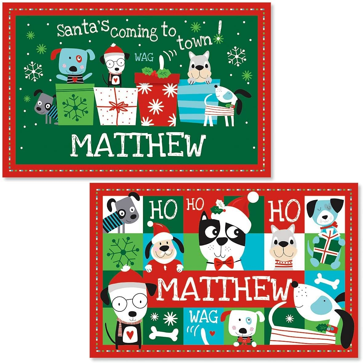 Lillian Vernon Personalized Christmas Dog Kids Placemat- Laminated Bright Graphic Placemat, 11
