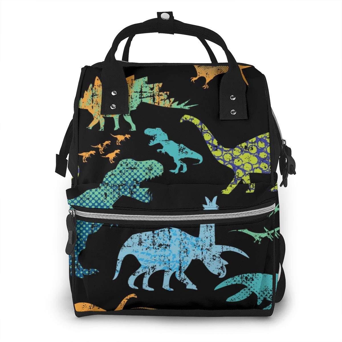 ACHOGI Dinosaur Diaper Bag Backpack, Women Large Capacity Multi Function Travel Nappy Bag for Baby Care