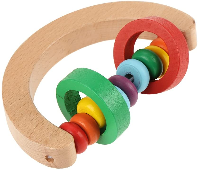ROSEBEAR Baby Rattles Grasp Toy Infant Early Musical Educational Toys Safe Wooden(Grasp Type)
