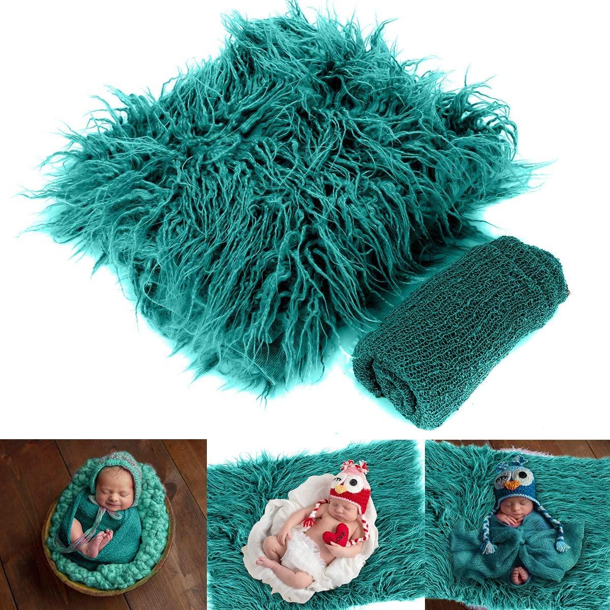 Wallfire 2pcs/Set Baby Photo Props Fluffy Blanket + Ripple Wrap Set Newborn Photography Wrap Mat for Baby Outfits Costume Set - Dark Green