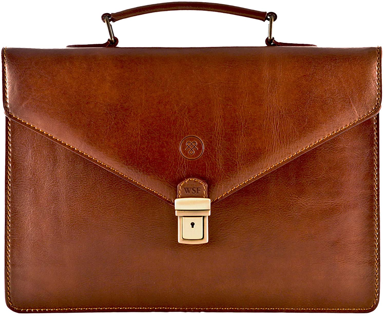 Maxwell Scott Personalized Men's Italian Leather Slim Briefcase - Lorenzo Tan