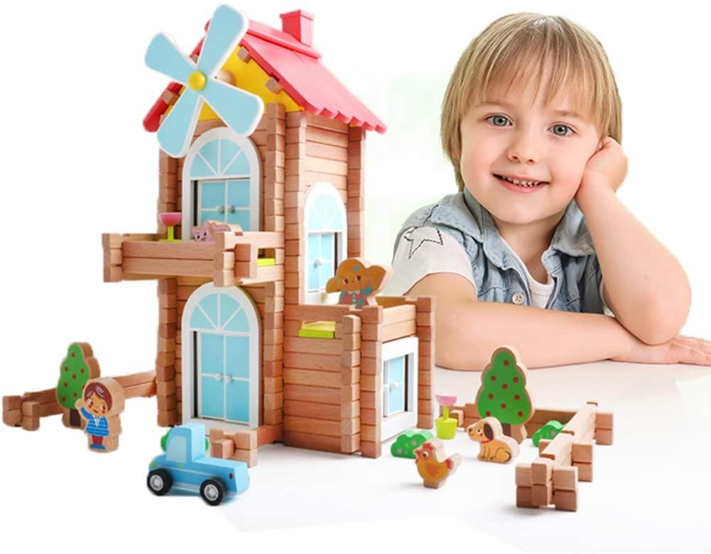 iwood Windmill Log Blocks, Wooden Log Building Set,Construction Building Toy for Kids 171PCS