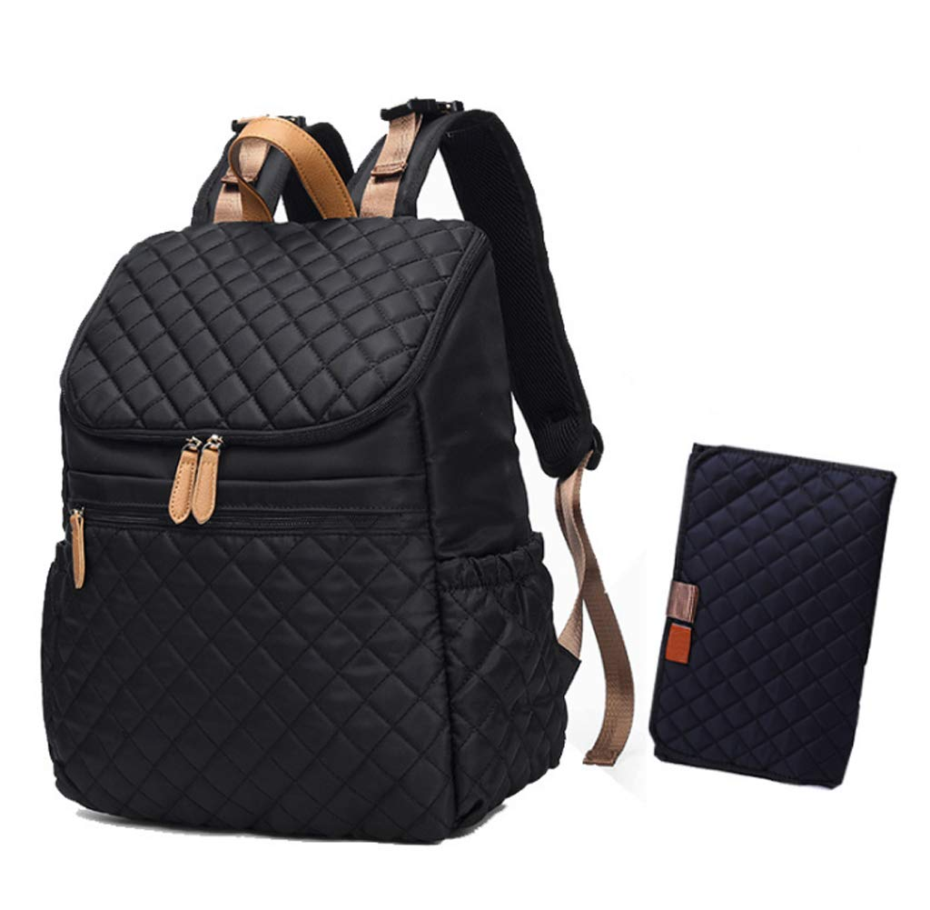 LCY Diaper Bag Backpack with Insulated Pockets & Changing Pad-Black