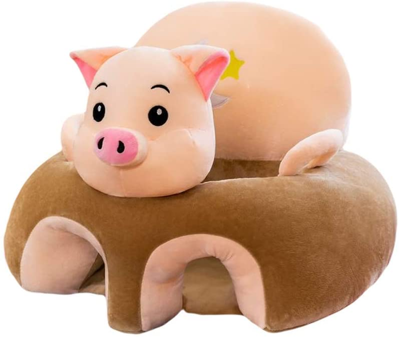 Child Seat Plush Toy Cartoon Baby Learning Chair Infant Safety Sofa Eating Dining Chair (Pig)