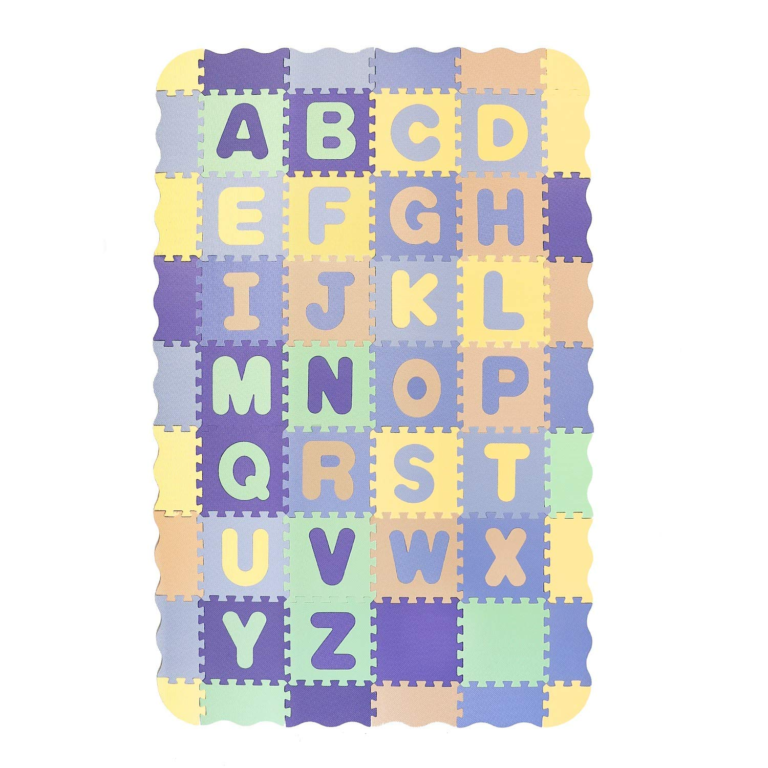Pauwer Puzzle Floor Mat for Kids Eva Foam Play Mat 54pcs Interlocking Foam Floor Mat Tiles with Alphabet Thick Baby Crawling Mat with Fence Puzzle Mat Activity Playmat