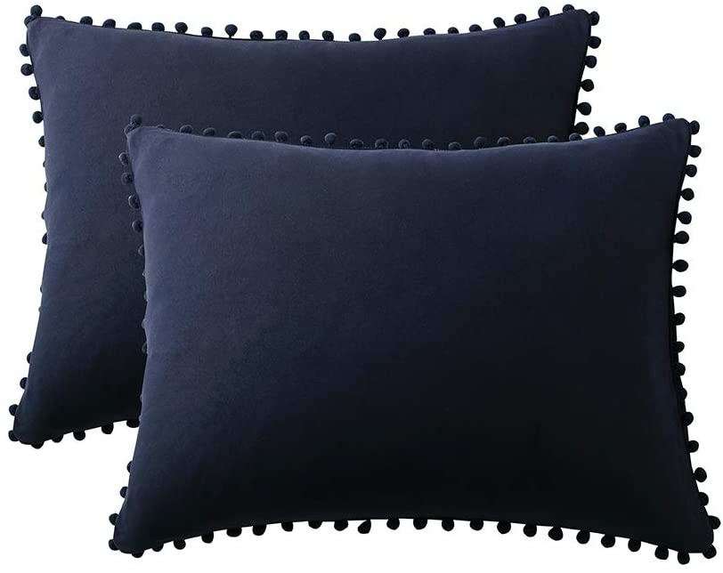OJIA Pillow Cases Set of 2 Queen Size Ultra Soft Pillow Shams for Body Skin and Hair, Bedding Microfiber Pillow Covers Envelope Closure Without Insert (Navy Blue,20x30inch)