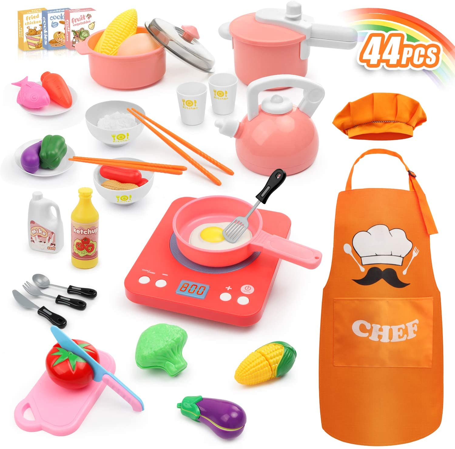 Hapgo Kitchen Pretend Play Toys Set with Induction Cooktop Cookware Pots and Pans Playset, Cooking Utensils, Apron & Chef Hat, Play Food, Cutting Vegetables for Kids Girls Boys Toddlers (Pink)