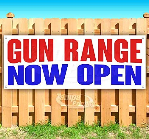 Gun Range Now Open 13 oz Heavy Duty Vinyl Banner Sign with Metal Grommets, New, Store, Advertising, Flag, (Many Sizes Available)