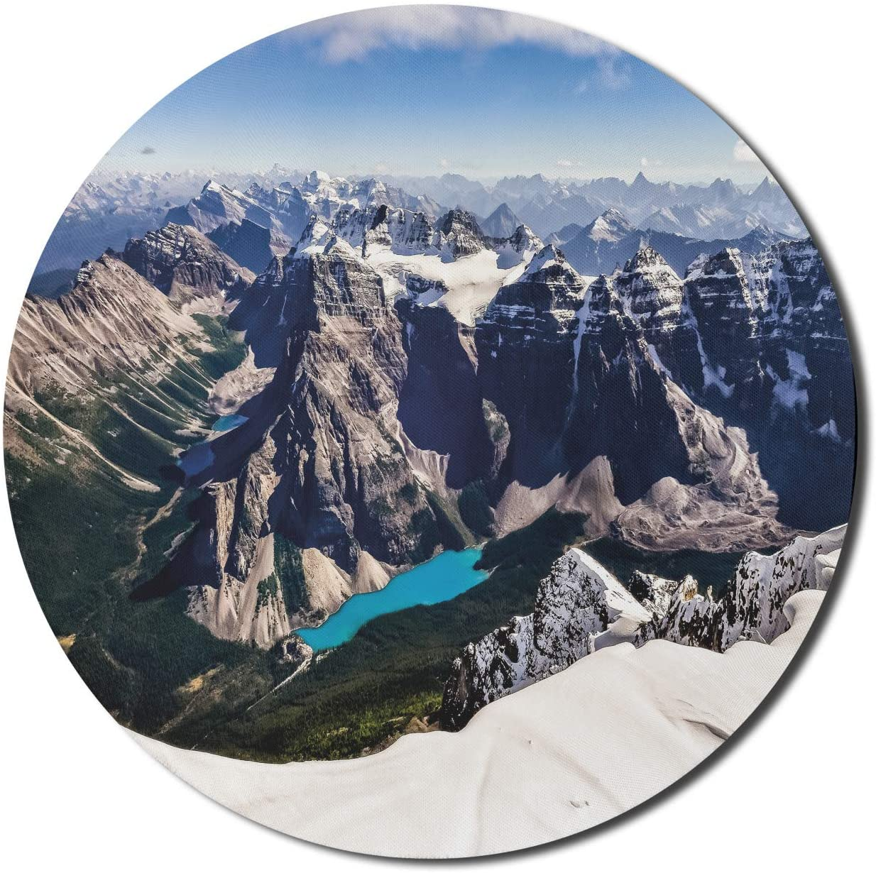 Lunarable Outdoor Mouse Pad for Computers, Aerial View of Snowy Rocky Mountains and Moraine Lake in Banff National Park, Round Non-Slip Thick Rubber Modern Gaming Mousepad, 8
