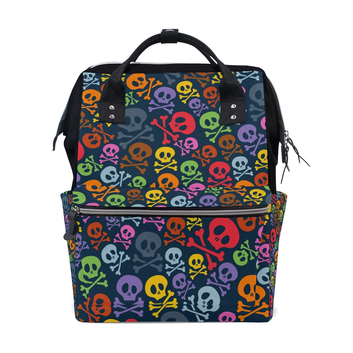 MERRYSUGAR Diaper Bag Backpack Travel Bag Large Multifunction Waterproof Colorful Skull Stylish and Durable Nappy Bag for Baby Care School Backpack