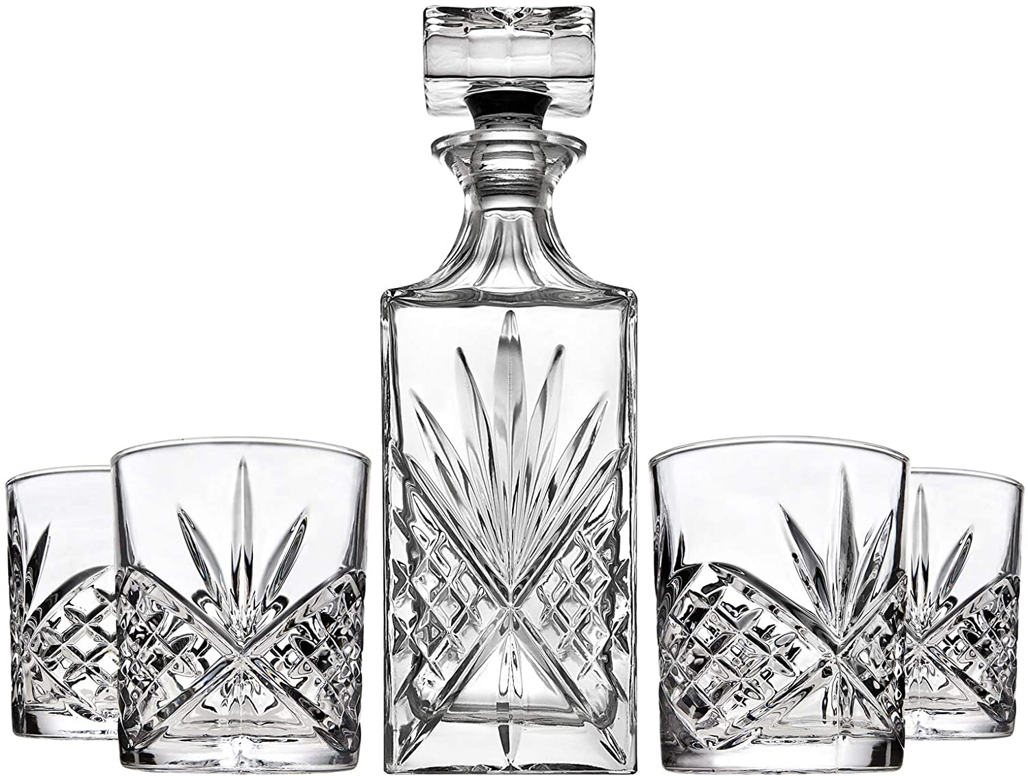 Whiskey Decanter and 4 Whiskey Glasses Set For Liquor Scotch Bourbon or Wine Bar – Dublin Collection