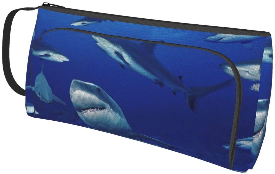 NiYoung Scratch Resistant Large Pencil Case Pen Pouch Small Cosmetic Bag (Shark Swim Blue Ocean)