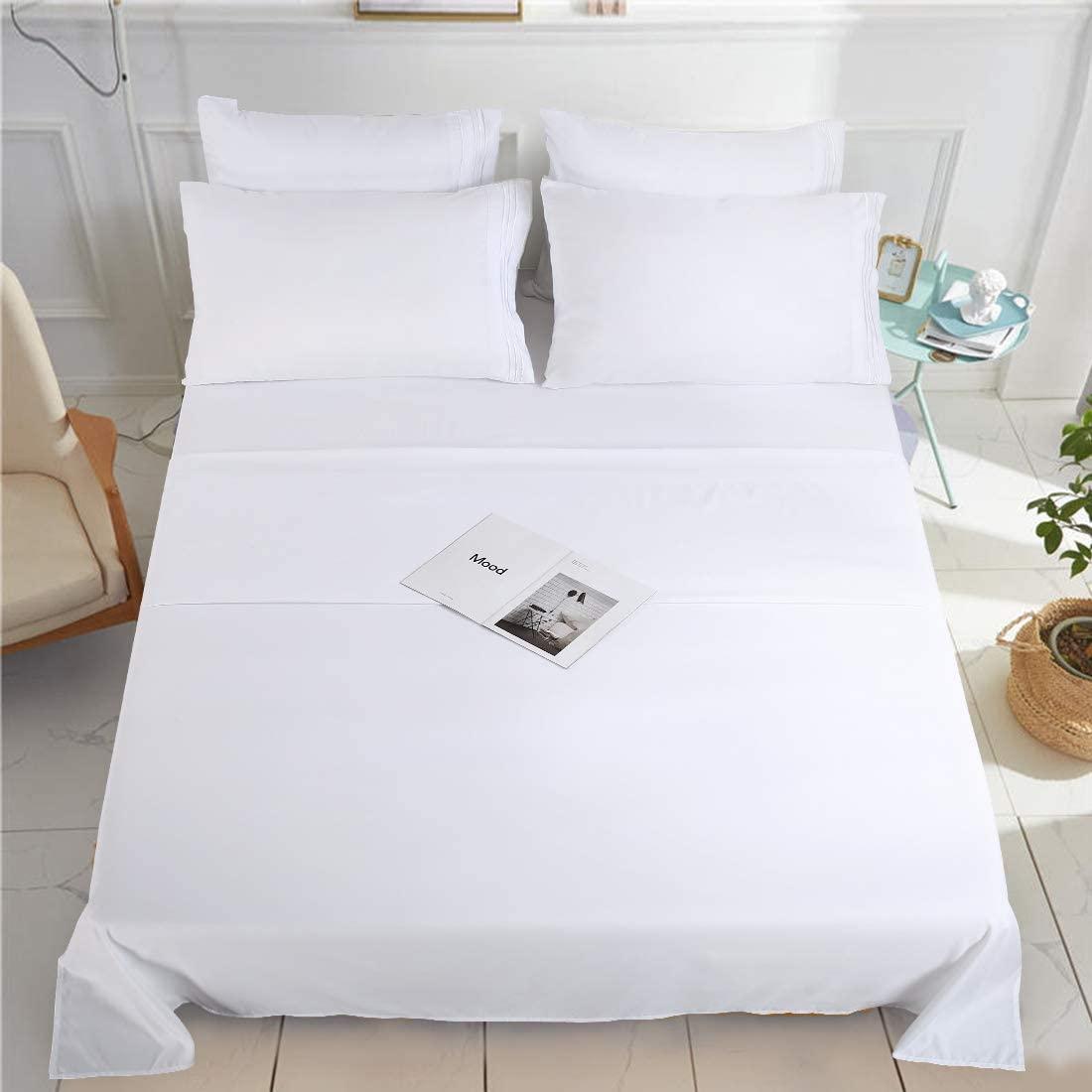 KARRISM Full Size 6 Piece Bed Sheets Set Extra Soft & Breathable Brushed 1800 Series Microfiber,Cooling, Wrinkle & Fade Resistant, Comfortable Deep Pocket Bedding Set, White