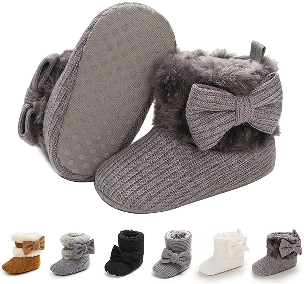 Baby Boy Girl Boots Newborn Shoes Winter Snow Bowknot Anti-Slip Soft Sole Warm Infant Toddler Prewalker Booties