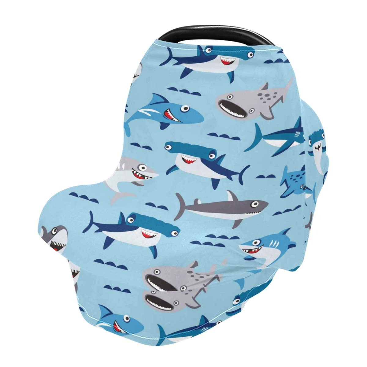 Nursing Cover Breastfeeding Scarf Shark Water Blue - Baby Car Seat Covers, Infant Stroller Cover, Carseat Canopy for Girls and Boys(801i)