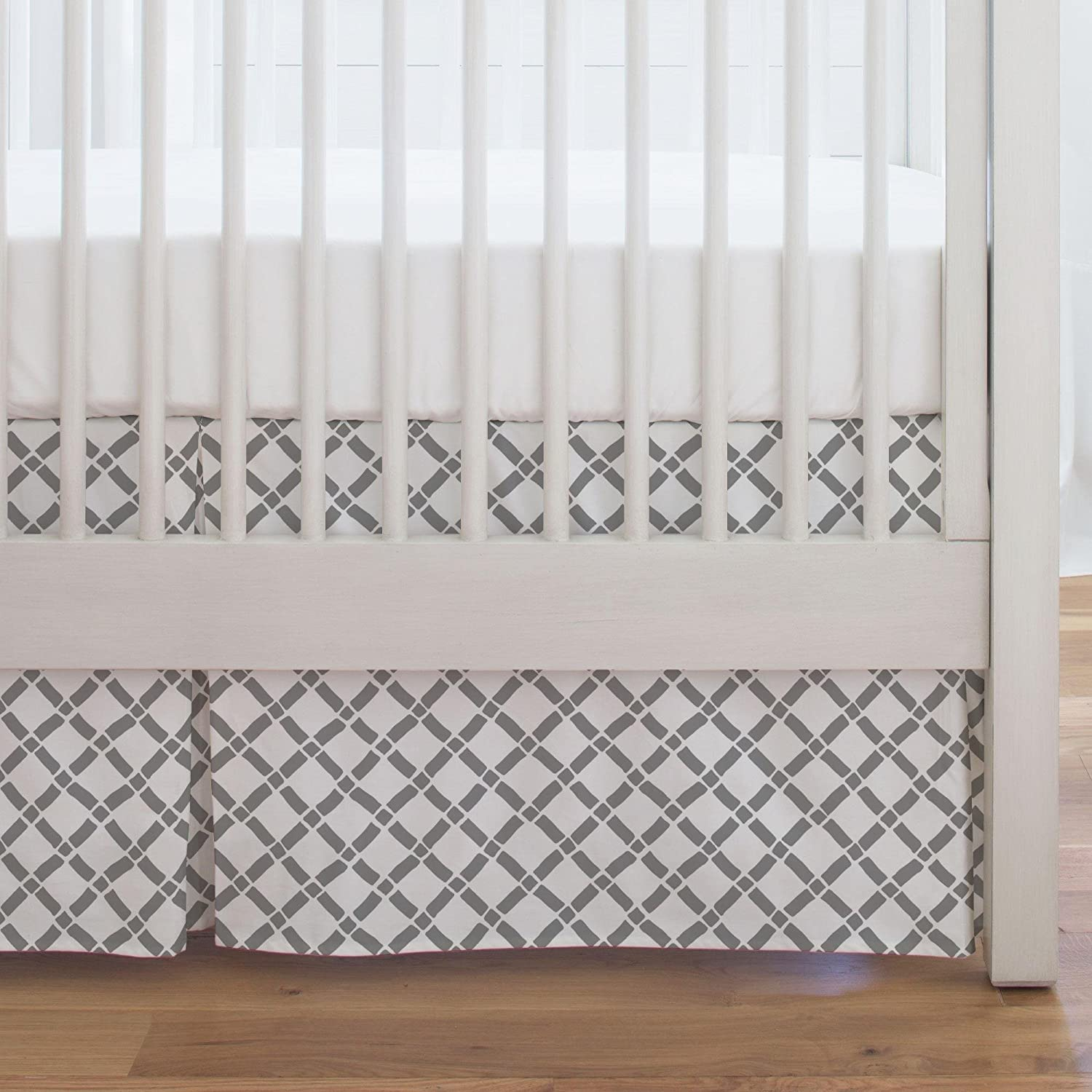 Carousel Designs Cloud Gray Hand Drawn Lattice Crib Skirt Single-Pleat 17-Inch Length - Organic 100% Cotton Crib Skirt - Made in The USA