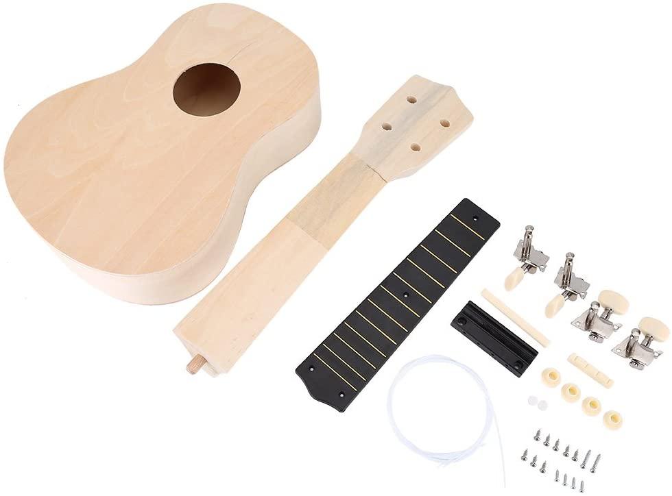 Ukelele DIY Kit, Make Your Own 21inch 4 String Wood Ukelele for Kids Beginners