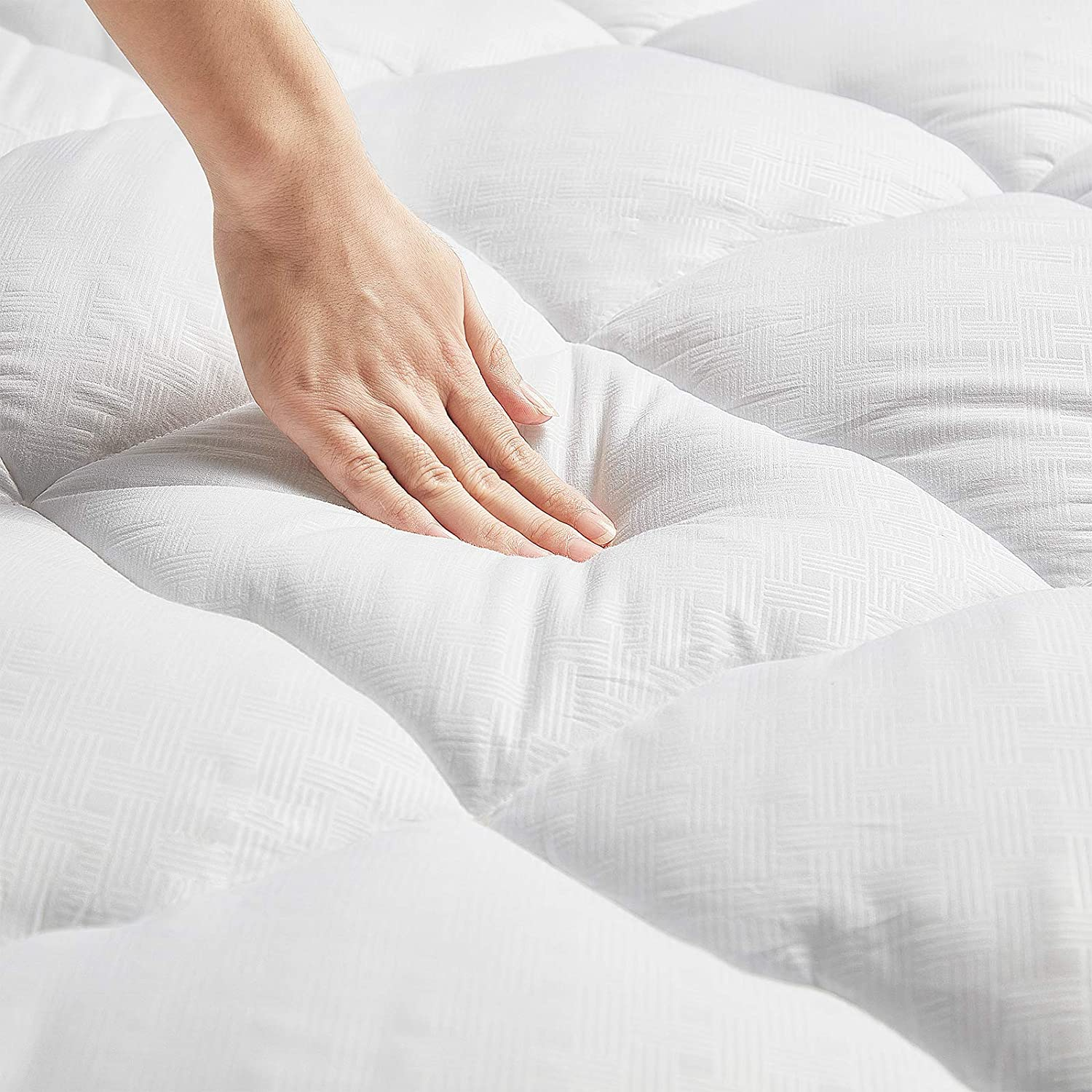LANDERLY Cal King Mattress Pad Pillow Top Mattress Cover Quilted Fitted Mattress Topper with 8-21