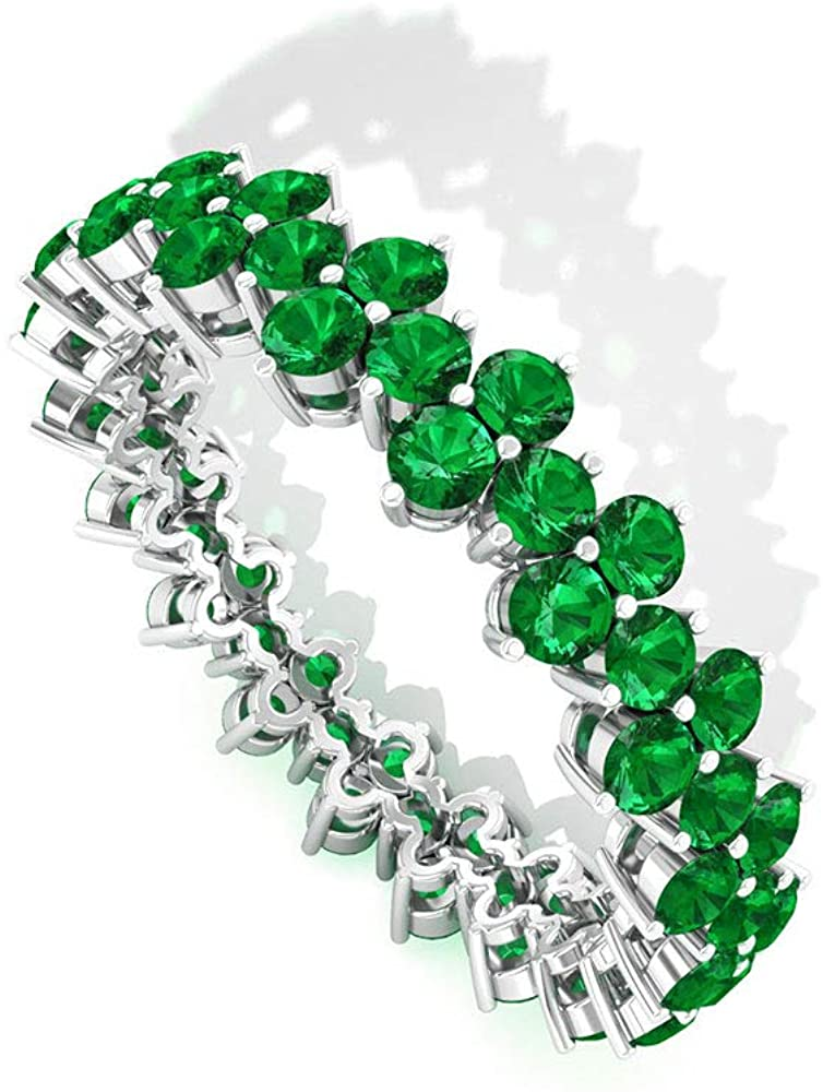 2.28 CT Round SGL Certified Lab Created Emerald Cluster Wedding Ring, Floral Green Gemstone Eternity Anniversary Ring, Stackable May Birthstone Promise Ring Gifts, 18K Gold