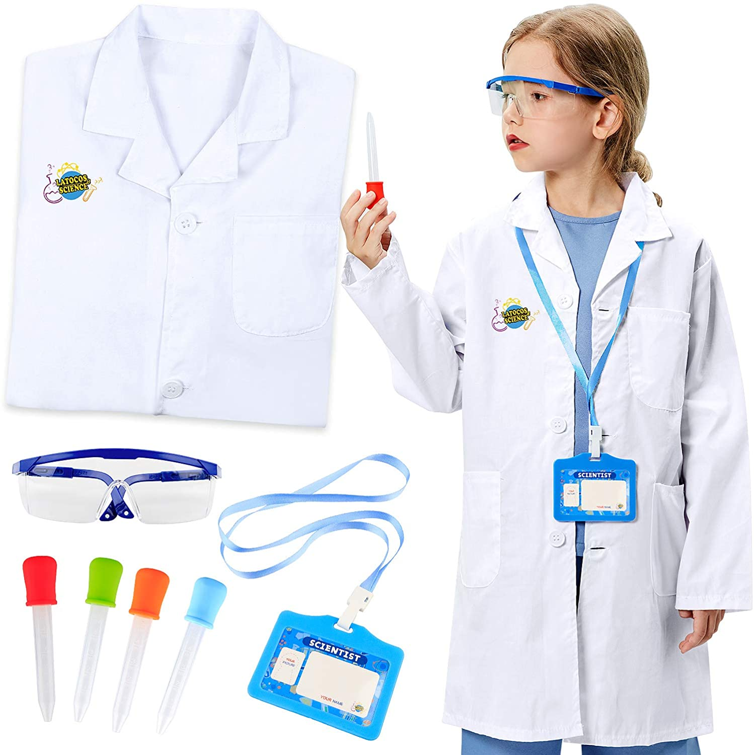 G.C kids Lab Coat with Goggles Personalized ID Card Eyedroppers Scientist Costume pretend Role Play Cosplay Dress Up Children Toys Gift science kit for Boys Girls