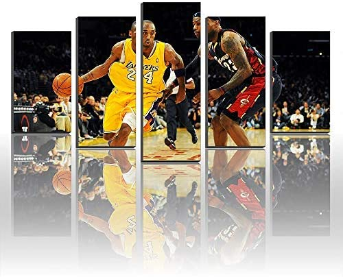 Modular Painting Posters and Prints on Canvas Kobe Bryant Vs LeBron James Wall Art Home Decor Artwork (Size3:16x24inx2,16x32inx2,16x40inx1Frame)