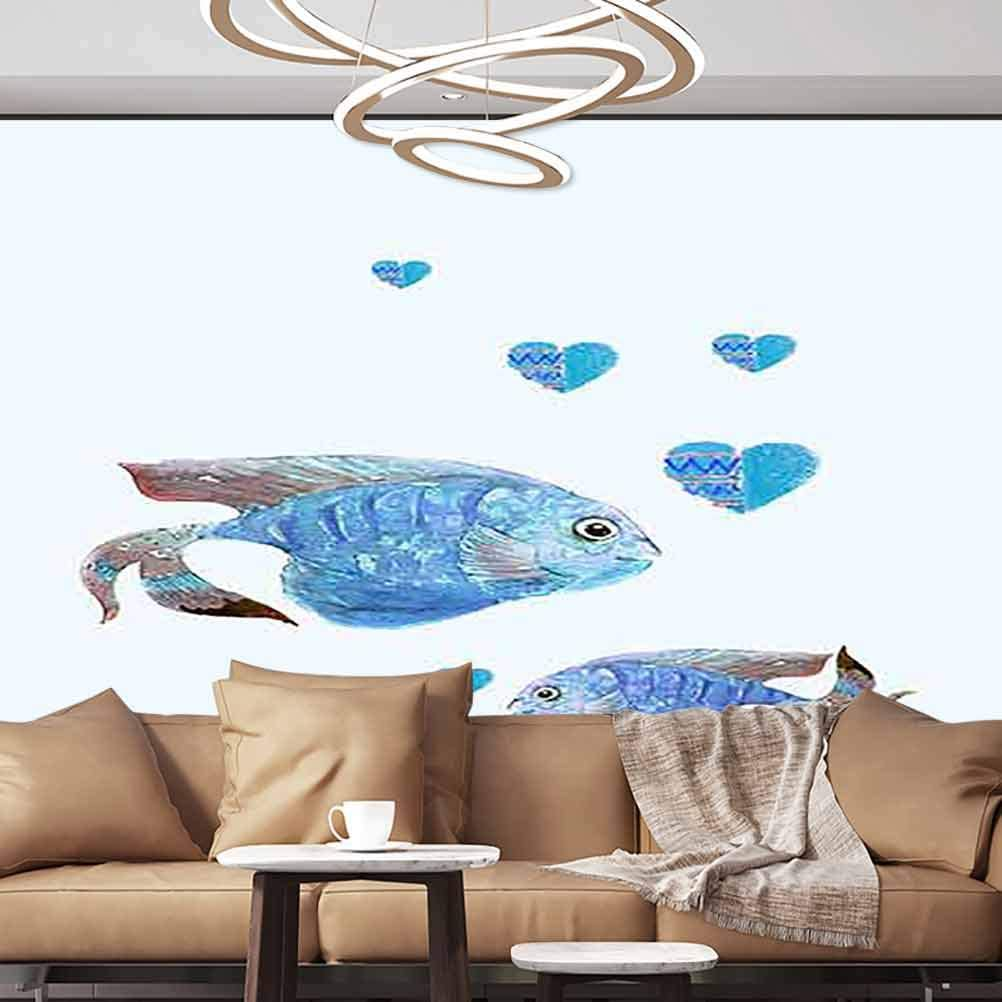 Albert Lindsay Backdrop Wall Stickers Murals Fish Paperhanging Wallpaper,154x122/392x309 cm,for Office Nursery School Family Decor Playroom Birthday Gift