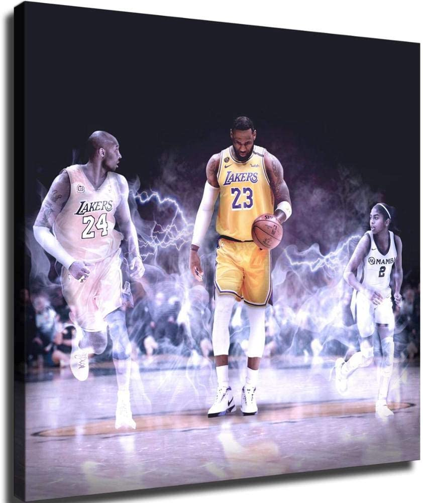 Lebron James Kobe Bryant and Kobes Daughter HD Print Canvas Canvas Mural Home Living Room Bedroom Art Wall Office Wall Art Canvas