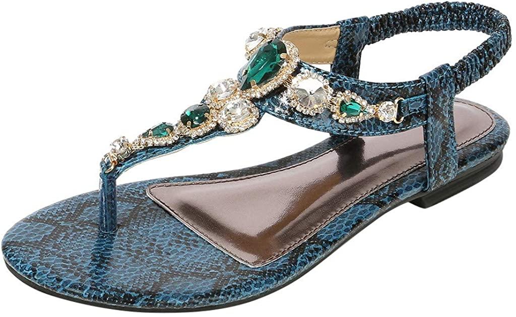 Rhinestone Sandals for Women,YuhooSUN Bohemian Toepost Elastic Strappy String Thong Ankle Strap Gladiator Flip Flop