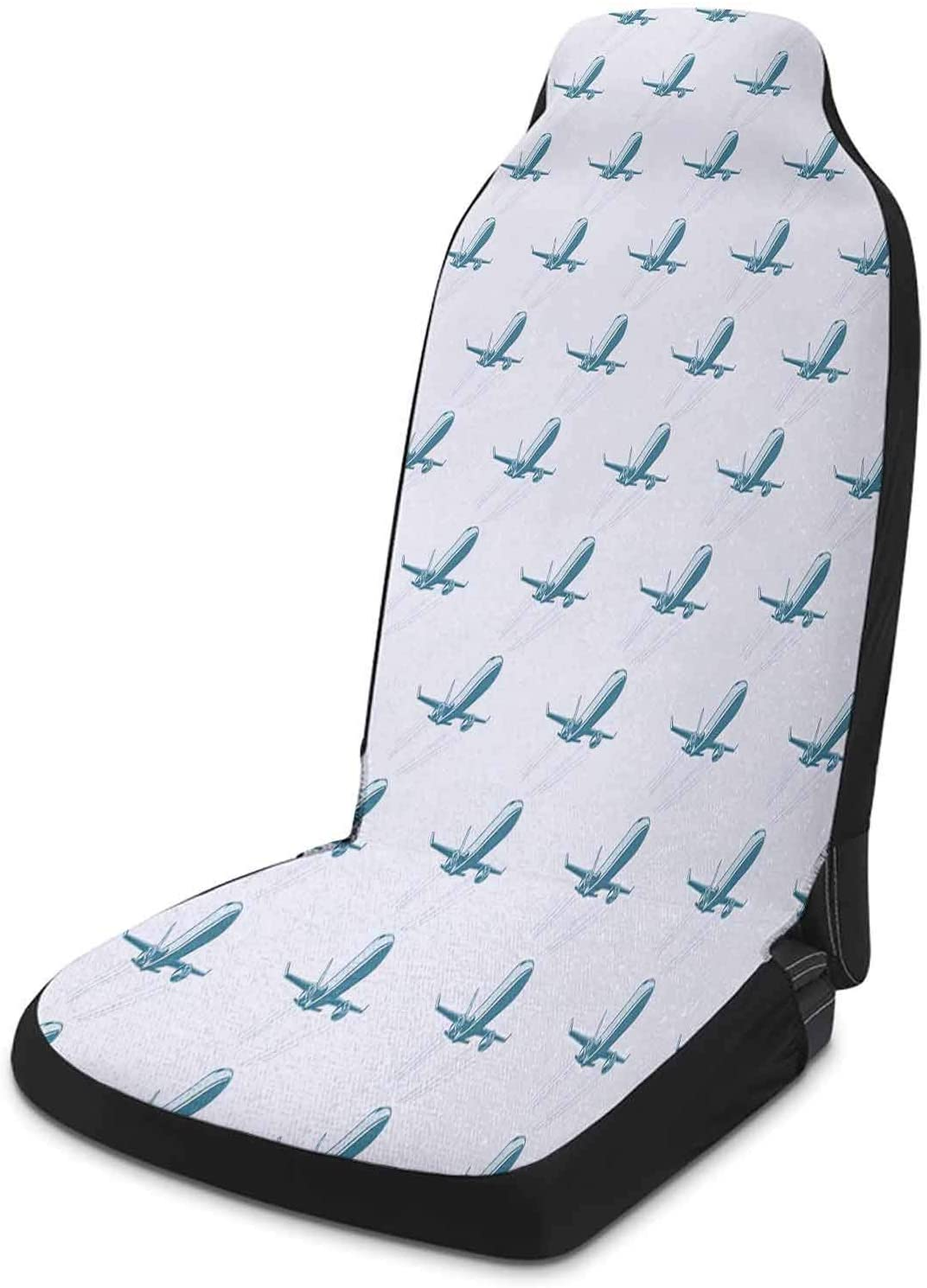 Auto Car Seat Cover 1 Piece, Airplane Auto Seat Cover - Retro Pop Art Style Air Transport Travel Voyage Theme Fast Engine Technology, Pale Blue White