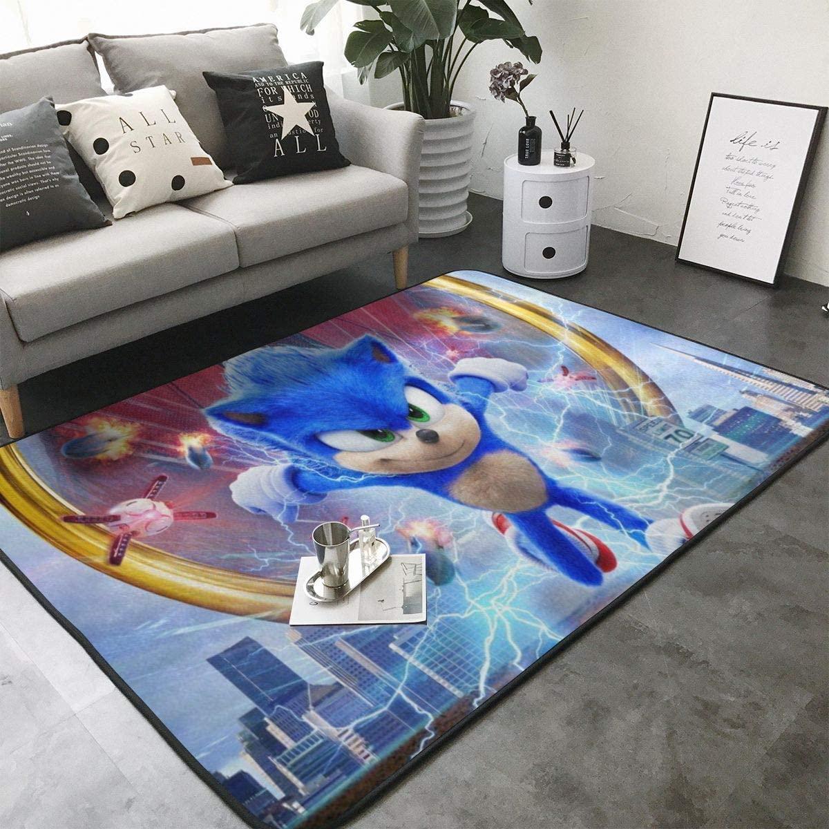 So-nic The Hed-gehog (3) Home Decoration Large Rug Floor Carpet Yoga Mat, Modern Area Rug for Children Kid Playroom Bedroom 84 x 60 inch