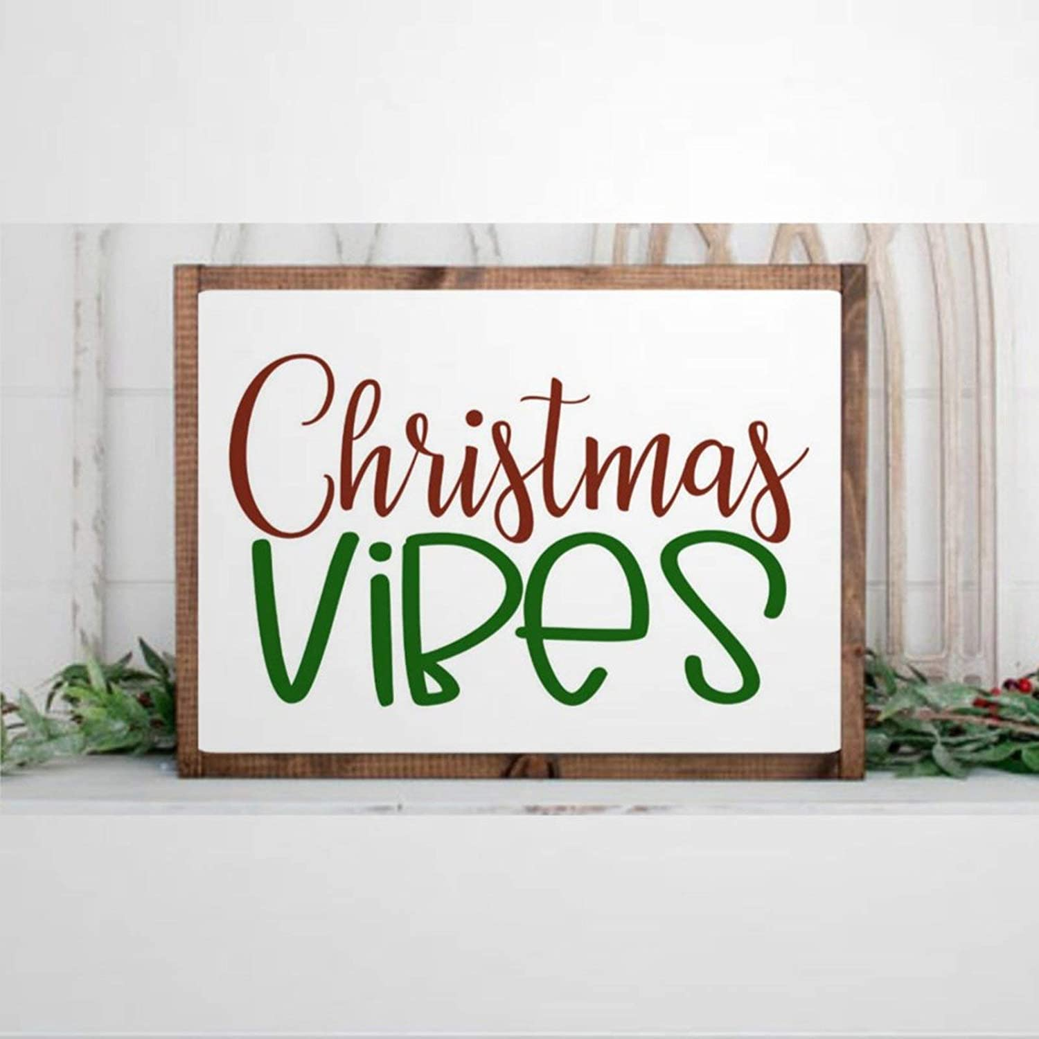DONL9BAUER Christmas Vibes Framed Sign Wood Sign Holiday Spirit Wood Sign Christmas Decor Rustic Wall Hanging Home Decor for Living Room Wall Art