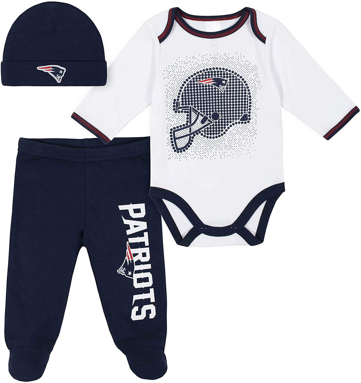 NFL New England Patriots 3 Pack Bodysuit Footed Pant and Cap Registry Gift Set, Blue/White New England Patriots, 6-9M