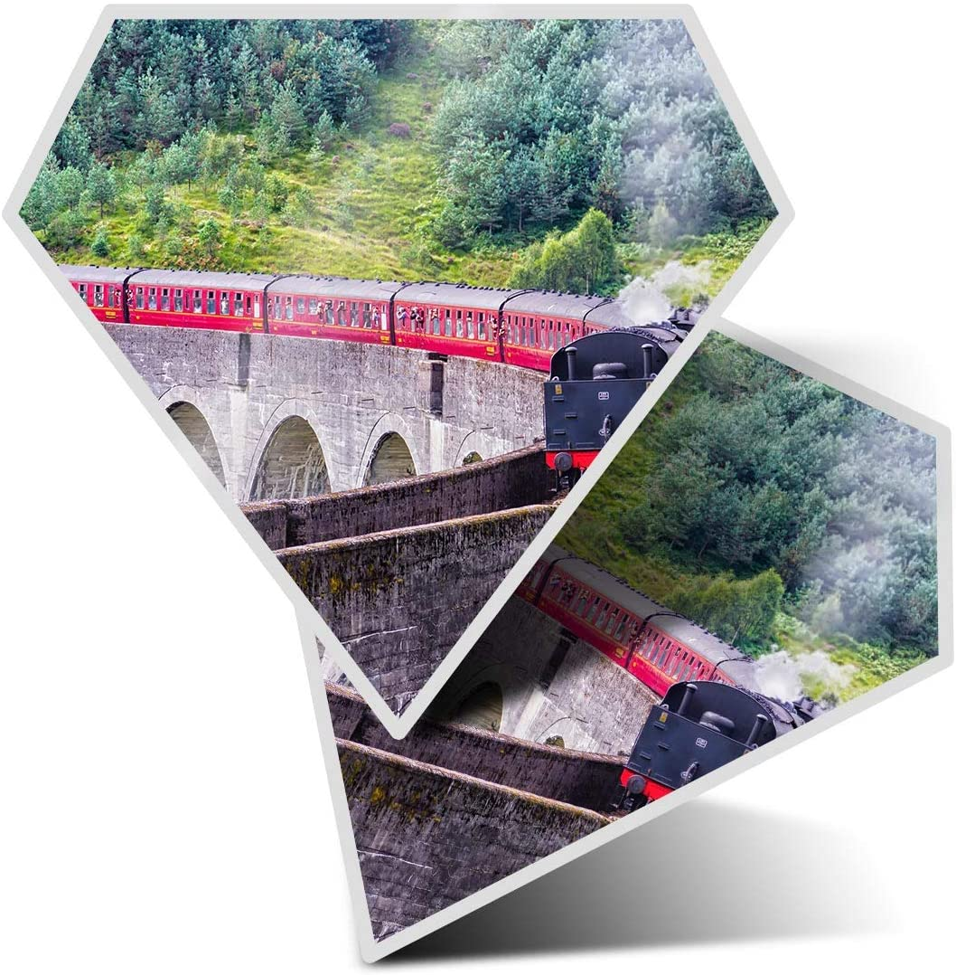 Awesome 2 x Diamond Stickers 7.5 cm - Amazing Steam Train Bridge Spotter Fun Decals for Laptops,Tablets,Luggage,Scrap Booking,Fridges,Cool Gift #8564