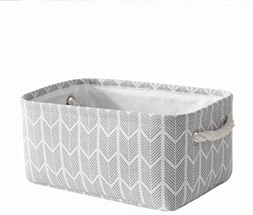 Locipe Small Storage Baskets for Storage, Fabric Baskets for Organizing,Decorative Storage Baskets for Shelf, Empty Gift Baskets with Handles,Storage Nursery Toys(Gray Wheat,11.8L×7.9W×5.2H)