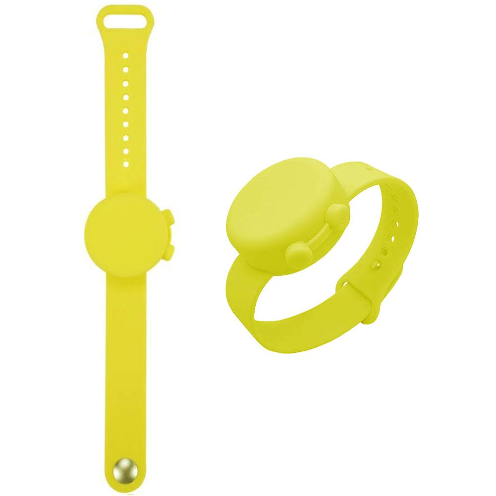 Wristband Hand Sanitizer - Refillable Wearable Portable Liquid Wrist Pump Bracelet - Silicone Gel or Lotion Holder Dispenser for Adults, Teens, Kids for Outdoor Travel Daily Hand Washing - Yellow