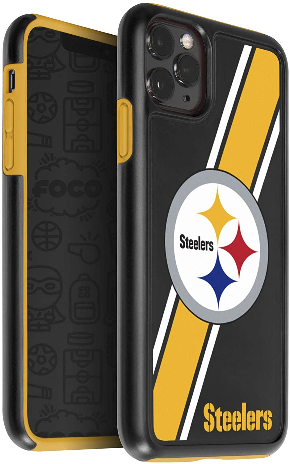 FOCO NFL Pittsburgh Steelers Unisex iPhone 11 MAX Pro 6.5 Inch Screen Only Dual Hybrid Impact Licensed Case, Team Color, One Size (IPHNNFTPUXIMXPS)