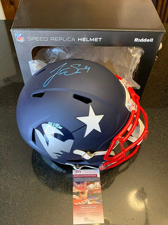 Jarrett Stidham Autographed Signed FS AMP New England Patriots Helmet JSA Blue - Autographed NFL Helmets