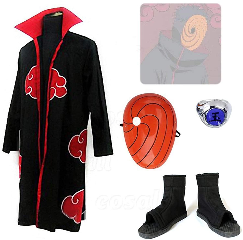 COSMOVIE Akatsuki Cloak Costume Uchiha Obito Halloween Cosplay Uniform Full Sets