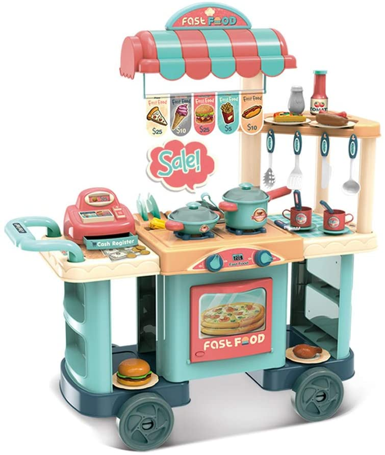 Homefami Play Kitchen Shopping Cart Role Play Grocery Store Playset with Realistic Lights and Sounds Tableware Kitchen Utensils Pot And Pan