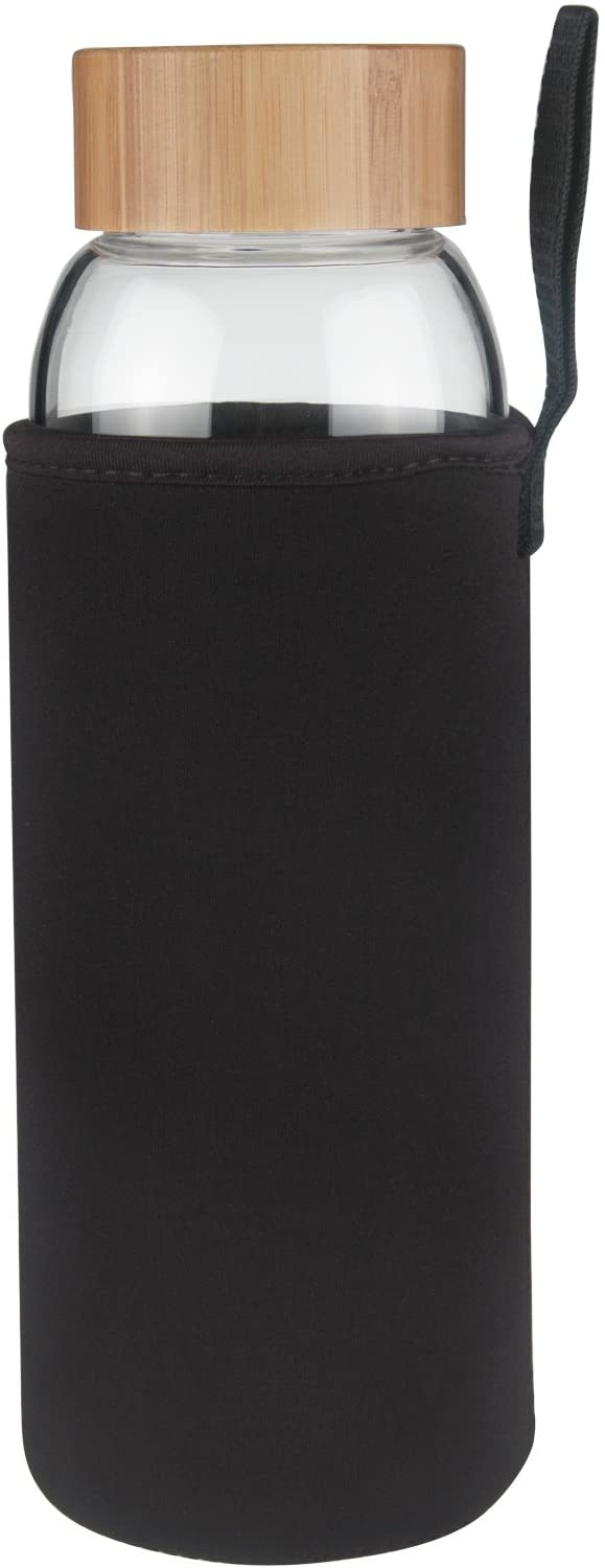 Ferexer Borosilicate Glass Water Bottle Wide Mouth with Bamboo Lid 32 oz (Black)