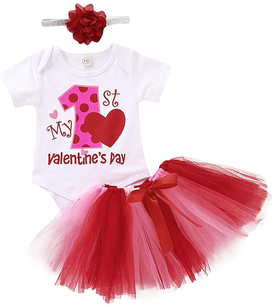 Valentines Day Outfits Newborn Infant Baby Girls My First Valentines Day Romper Bowknot Tutu Skirt Headband Clothing Sets