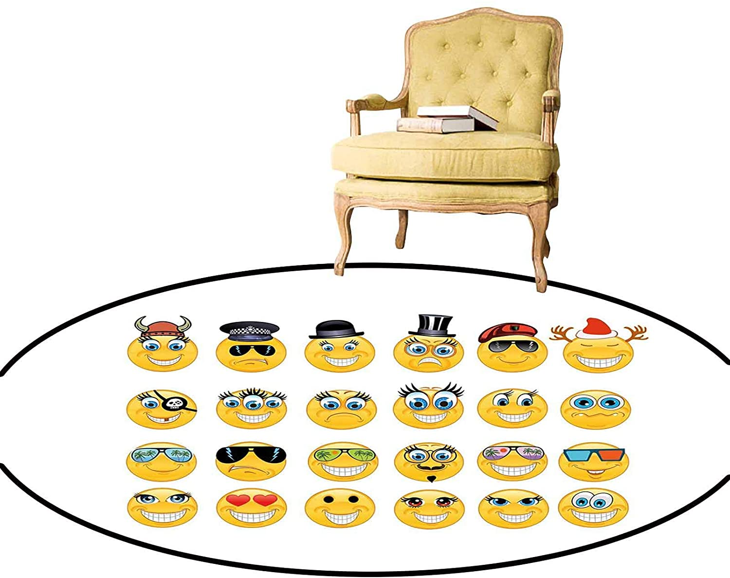 Carpet Cartoon Style Expressions with Many Themes Viking Police Christmas Cinema Pirate Personalized Round Rug for Kitchen Bar and Back Door Multicolor Diameter - 3 Feet