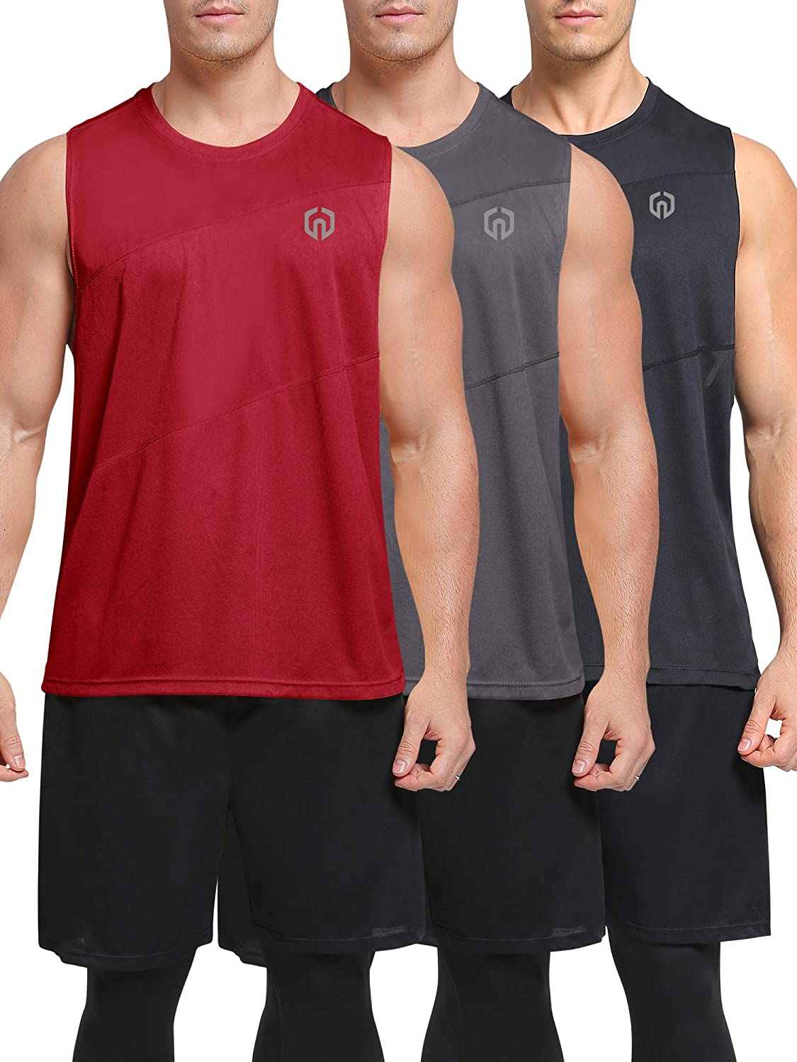 Neleus Men's 3 Pack Workout Tank Top Sleeveless Gym Shirt