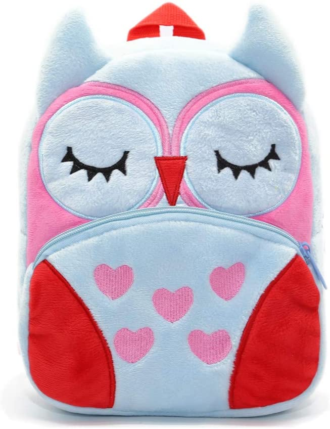 Cute Toddler Backpack Toddler Bag Plush Animal Cartoon Mini Travel Bag for Baby Girl Boy 2-6 Years (Owl Blue)